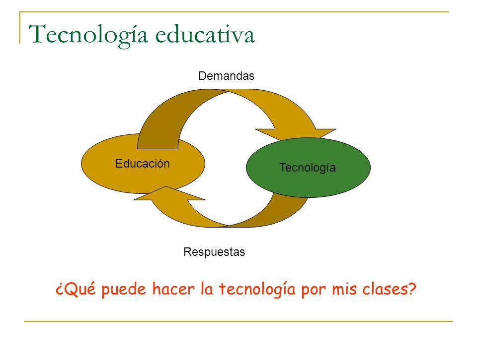 Demandas a la tecnología La educación puede demandar de la tecnología …formas más eficaces de hacer, básicamente, lo mismo que sin ella O...recursos para implementar metodologías difíciles de encarar sin ella Trabajo individualizado Aprendizaje colaborativo Aprendizaje activo en entornos de simulación