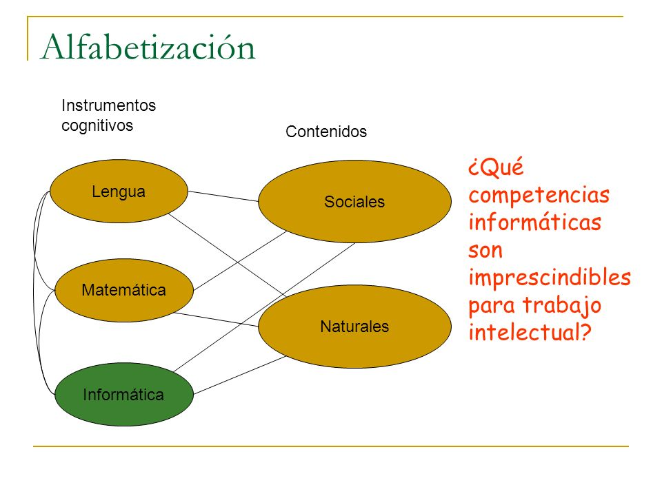 Alfabetización Sociales Naturales Lengua Matemática Informática Instrumentos cognitivos Contenidos ¿Qué competencias informáticas son imprescindibles