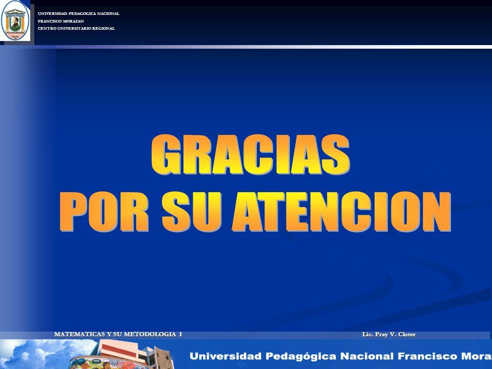 Lic. Fray V. Cloter MATEMATICAS Y SU METODOLOGIA I UNIVERSIDAD PEDAGOGICA NACIONAL FRANCISCO MORAZAN CENTRO UNIVERSITARIO REGIONAL