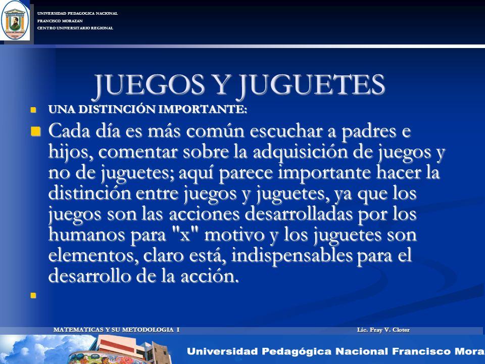 Lic. Fray V. Cloter MATEMATICAS Y SU METODOLOGIA I UNIVERSIDAD PEDAGOGICA NACIONAL FRANCISCO MORAZAN CENTRO UNIVERSITARIO REGIONAL JUEGOS Y JUGUETES U