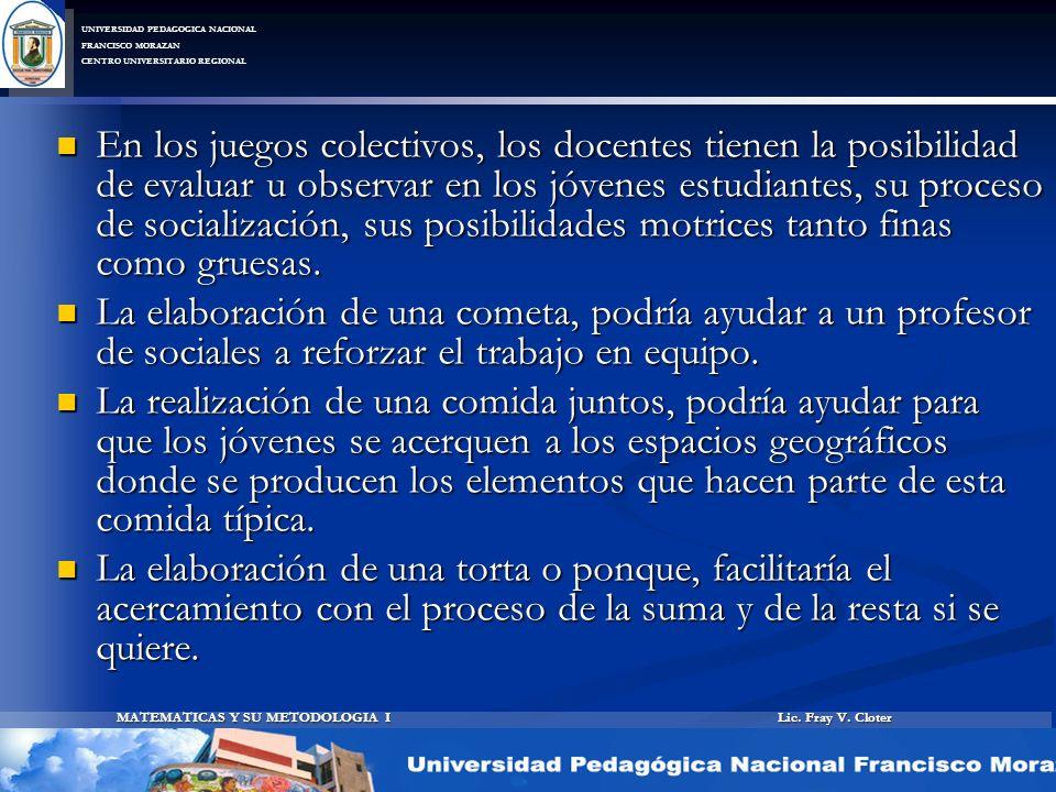 Lic. Fray V. Cloter MATEMATICAS Y SU METODOLOGIA I UNIVERSIDAD PEDAGOGICA NACIONAL FRANCISCO MORAZAN CENTRO UNIVERSITARIO REGIONAL En los juegos colec