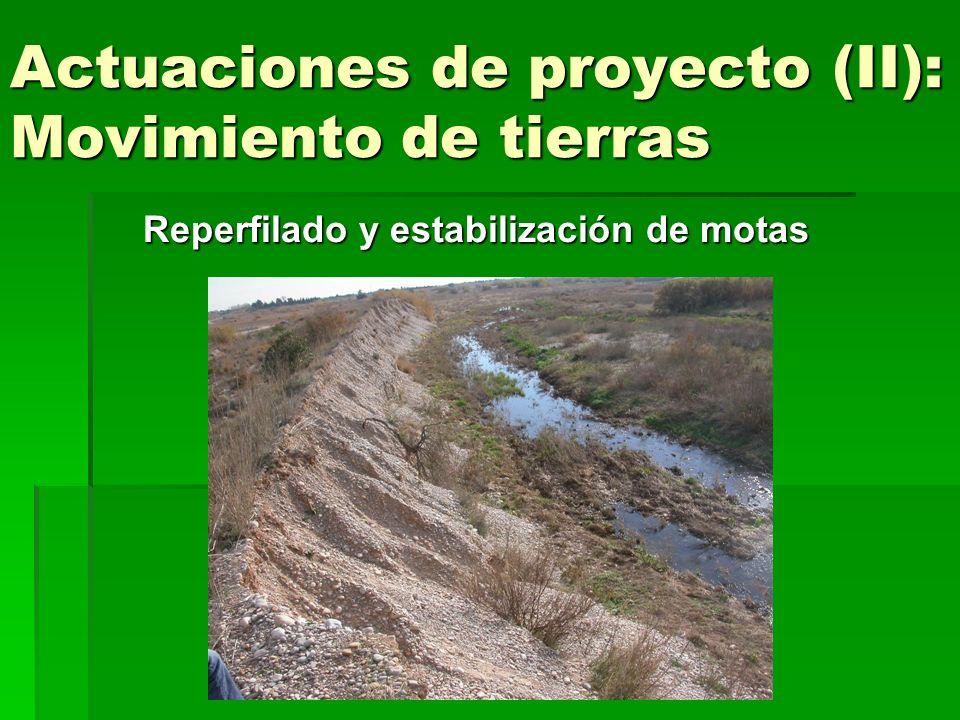 Actuaciones de proyecto (II): Movimiento de tierras Reperfilado y estabilización de motas