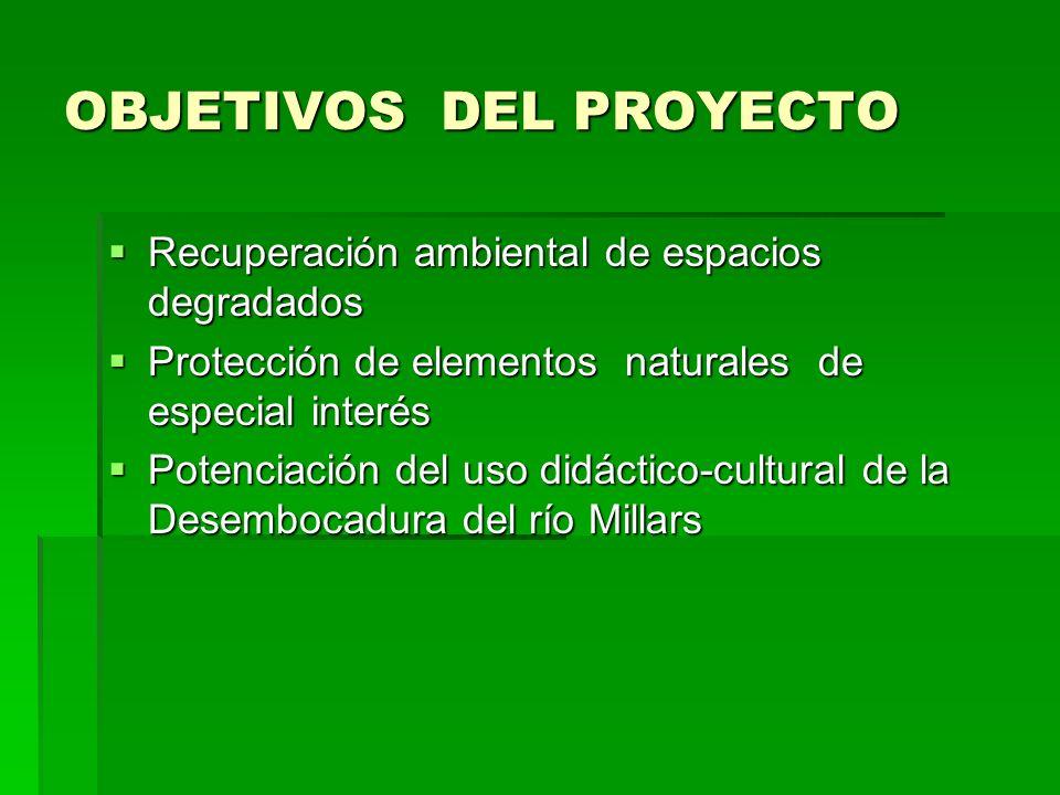 OBJETIVOS DEL PROYECTO Recuperación ambiental de espacios degradados Recuperación ambiental de espacios degradados Protección de elementos naturales d
