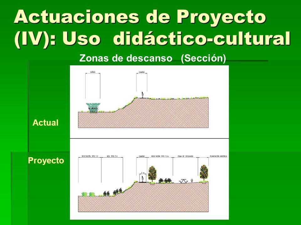 Actuaciones de Proyecto (IV): Uso didáctico-cultural Puntos de Observación Funciones: Vistas panorámicas del espacio natural Interés para la observación de aves Observación de ámbitos naturales de especial interés Nº: 7 puntos habilitados (3 margen izq.