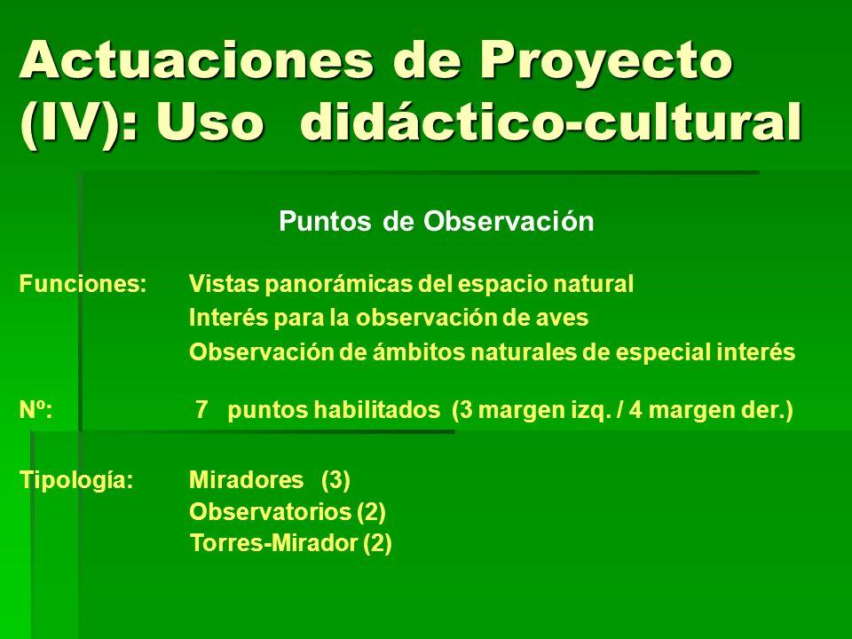 Actuaciones de Proyecto (IV): Uso didáctico-cultural Puntos de Observación Funciones: Vistas panorámicas del espacio natural Interés para la observaci