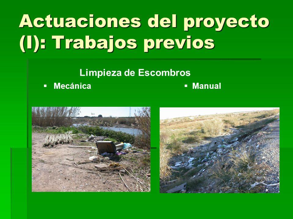 Actuaciones del proyecto (I): Trabajos previos Mecánica Limpieza de Escombros Manual