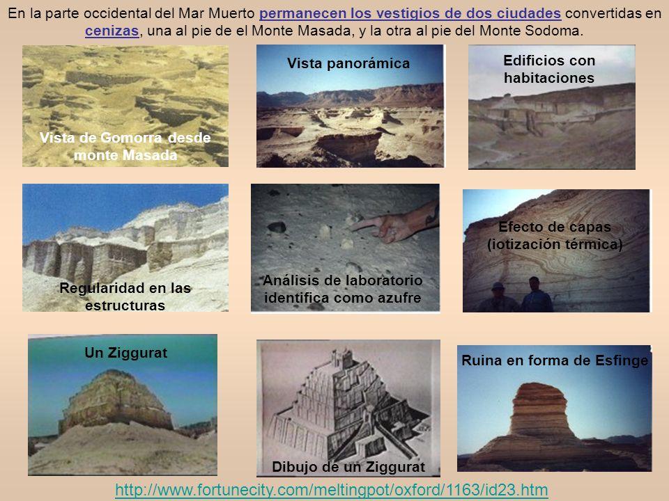 Vista de Gomorra desde monte Masada Vista panorámica Edificios con habitaciones Regularidad en las estructuras Análisis de laboratorio identifica como