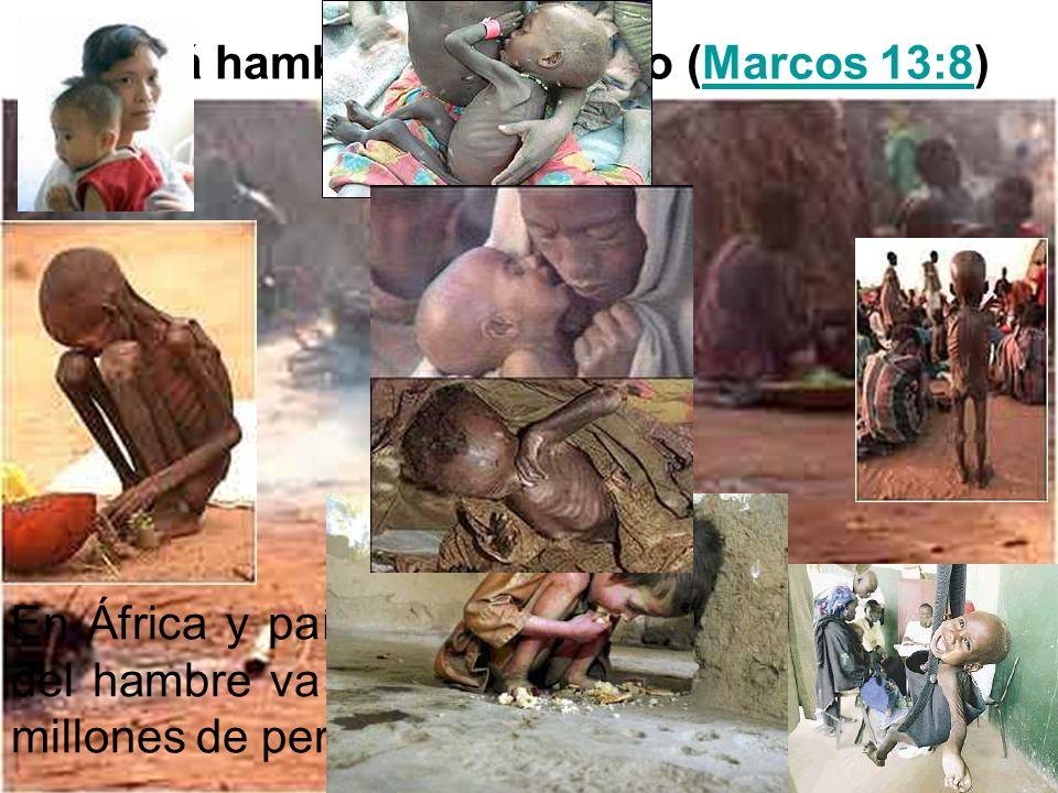 Habrá hambre en el mundo (Marcos 13:8)Marcos 13:8 En África y países pobres la mortalidad a causa del hambre va en aumento, cobrando la vida de millon