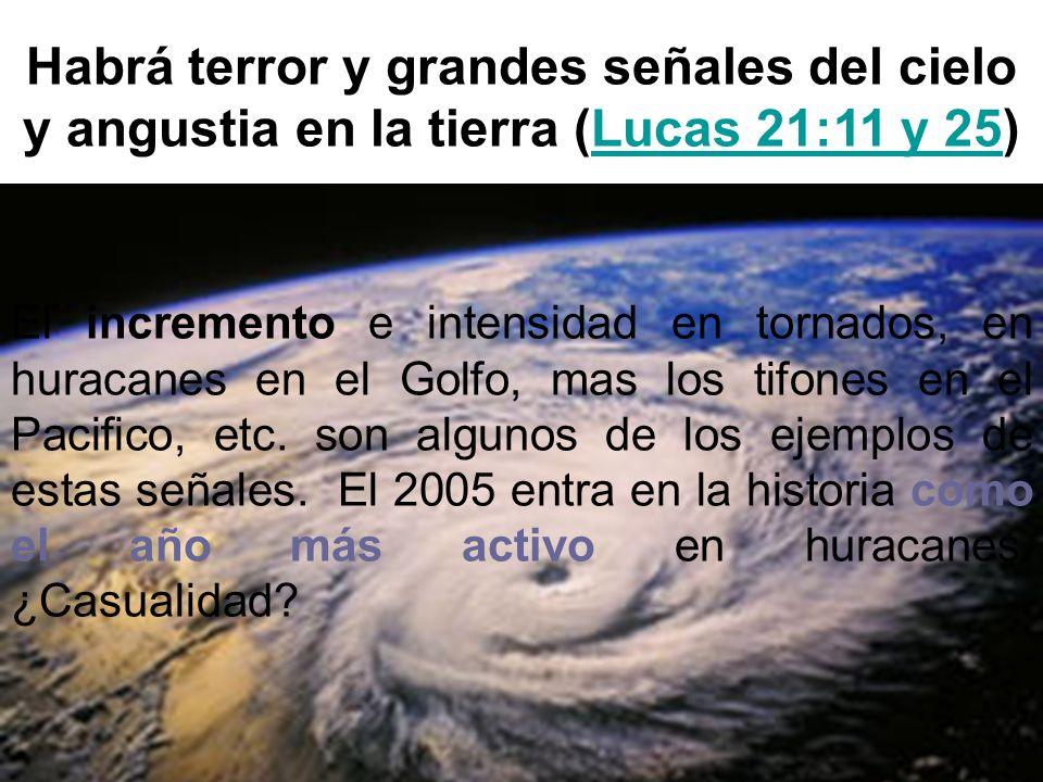 Habrá terror y grandes señales del cielo y angustia en la tierra (Lucas 21:11 y 25)Lucas 21:11 y 25 El incremento e intensidad en tornados, en huracan