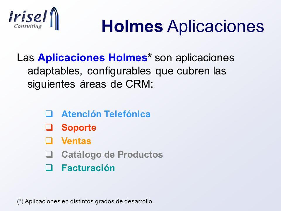 Holmes Aplicaciones Las Aplicaciones Holmes* son aplicaciones adaptables, configurables que cubren las siguientes áreas de CRM: Atención Telefónica So