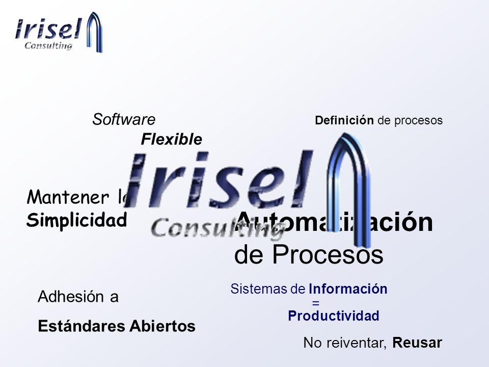 No reiventar, Reusar Adhesión a Estándares Abiertos Definición de procesos Mantener la Simplicidad Automatización de Procesos Software Flexible Sistem