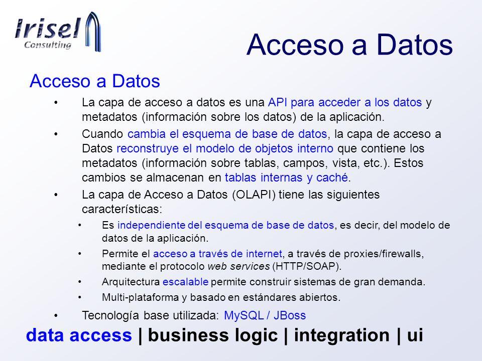 Acceso a Datos La capa de acceso a datos es una API para acceder a los datos y metadatos (información sobre los datos) de la aplicación. Cuando cambia