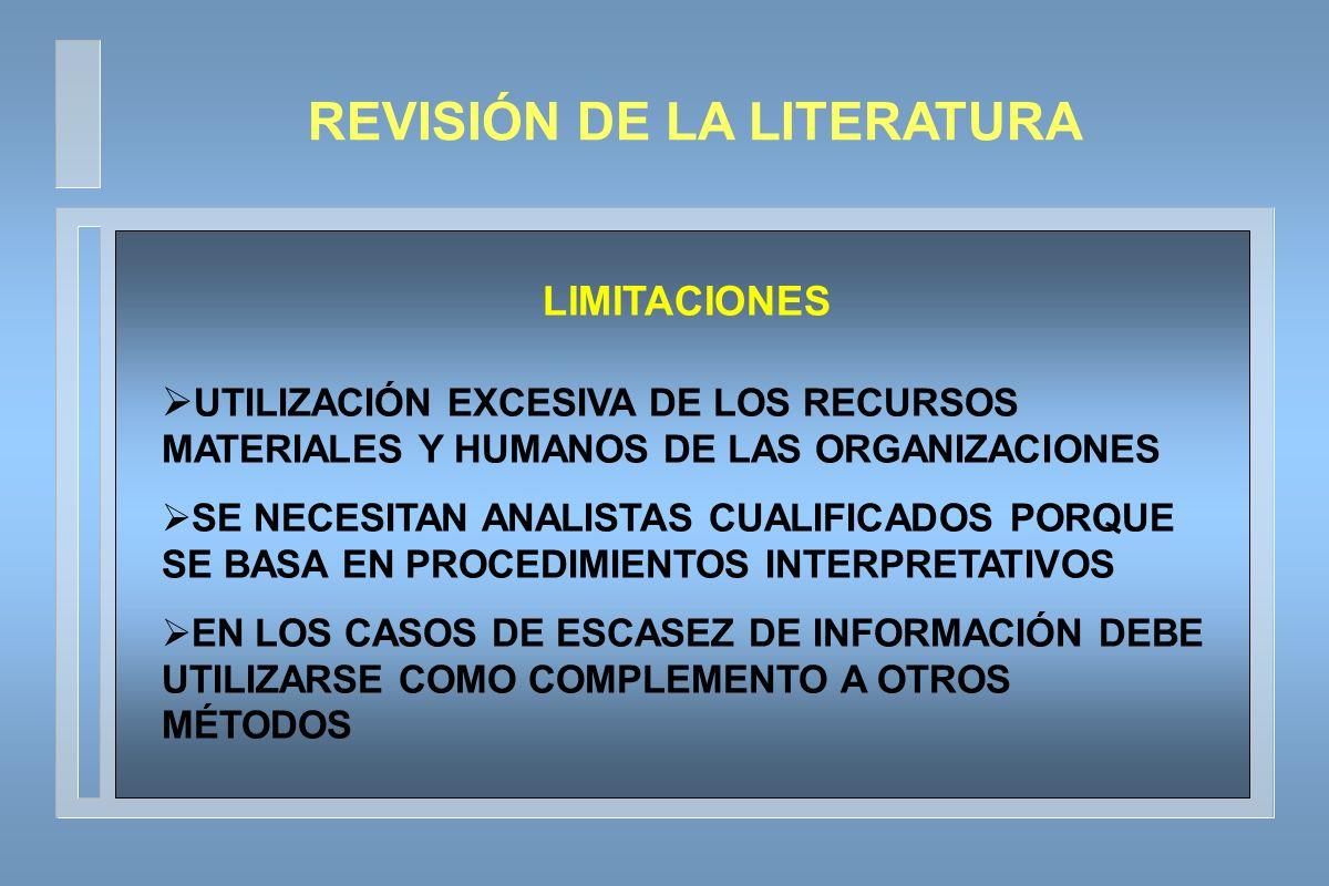 LIMITACIONES UTILIZACIÓN EXCESIVA DE LOS RECURSOS MATERIALES Y HUMANOS DE LAS ORGANIZACIONES SE NECESITAN ANALISTAS CUALIFICADOS PORQUE SE BASA EN PROCEDIMIENTOS INTERPRETATIVOS EN LOS CASOS DE ESCASEZ DE INFORMACIÓN DEBE UTILIZARSE COMO COMPLEMENTO A OTROS MÉTODOS REVISIÓN DE LA LITERATURA
