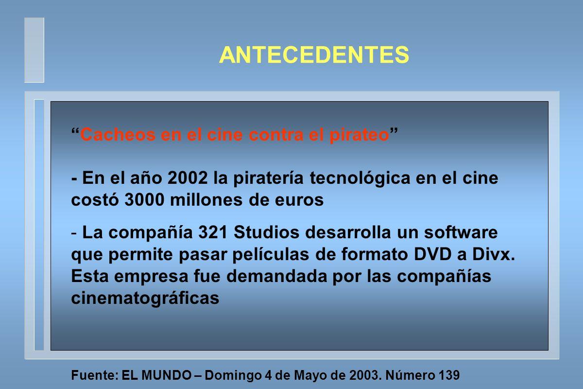 Cacheos en el cine contra el pirateo - En el año 2002 la piratería tecnológica en el cine costó 3000 millones de euros - La compañía 321 Studios desarrolla un software que permite pasar películas de formato DVD a Divx.