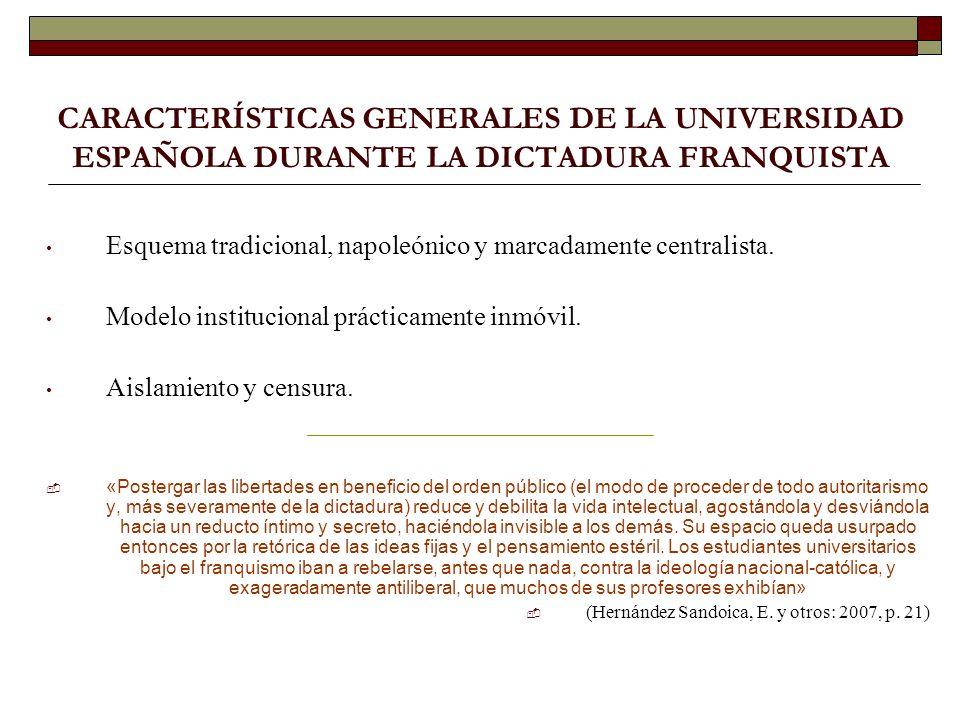 CARACTERÍSTICAS GENERALES DE LA UNIVERSIDAD ESPAÑOLA DURANTE LA DICTADURA FRANQUISTA Esquema tradicional, napoleónico y marcadamente centralista.