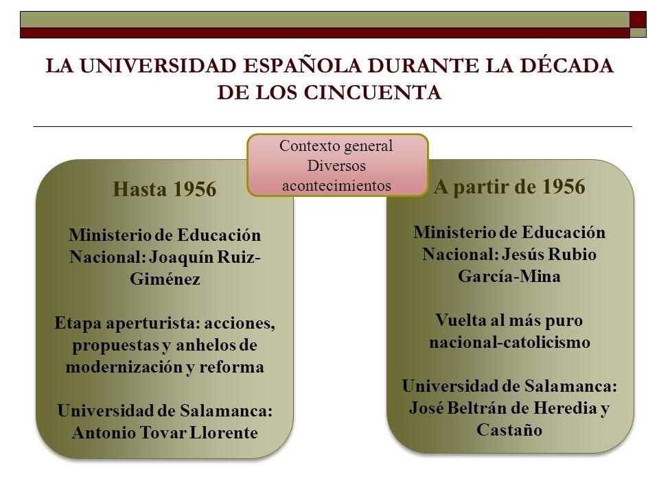 EL ESTUDIO HISTÓRICO-EDUCATIVO DE LA UNIVERSIDAD DE SALAMANCA DURANTE EL RECTORADO DE JOSÉ BELTRÁN DE HEREDIA (1956-1960) Organización administrativa y régimen docente Justificación del tema.