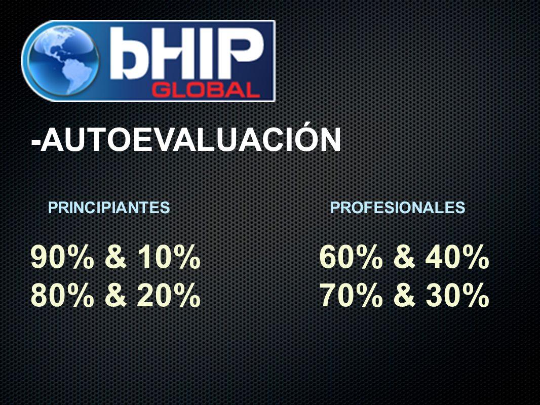 -AUTOEVALUACIÓN PRINCIPIANTES PROFESIONALES 90% & 10% 60% & 40% 80% & 20% 70% & 30%