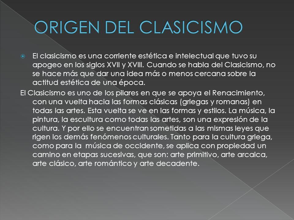 Origen del Clasicismo. Formas musicales. Instrumentos. Los compositores. Obras destacadas del Clasicismo. Bibliografia. Autores.