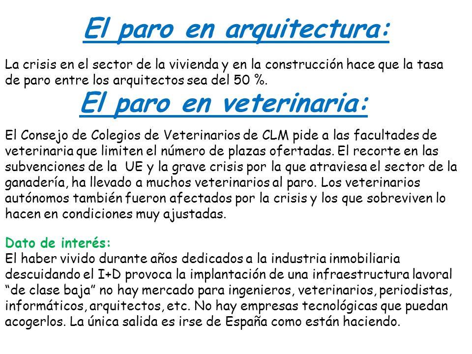 El paro en arquitectura: La crisis en el sector de la vivienda y en la construcción hace que la tasa de paro entre los arquitectos sea del 50 %. El pa