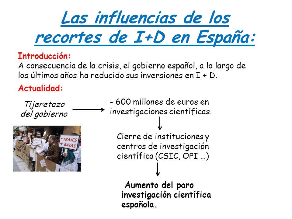 Las influencias de los recortes de I+D en España: Introducción: A consecuencia de la crisis, el gobierno español, a lo largo de los últimos años ha re