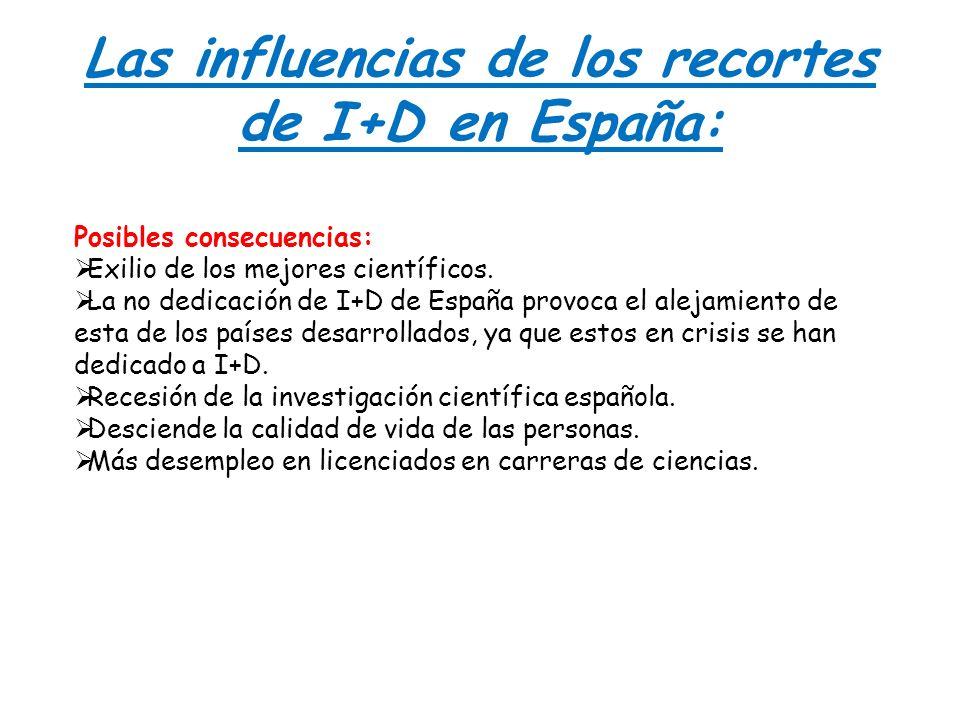 Las influencias de los recortes de I+D en España: Posibles consecuencias: Exilio de los mejores científicos. La no dedicación de I+D de España provoca