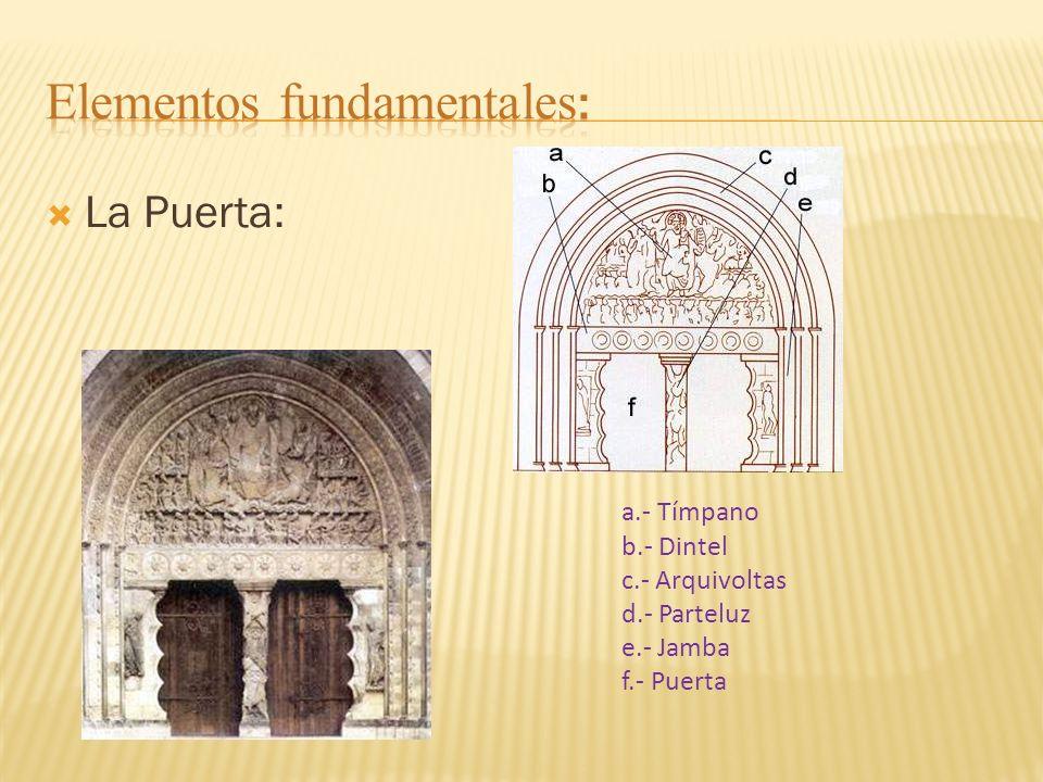 La Puerta: a.- Tímpano b.- Dintel c.- Arquivoltas d.- Parteluz e.- Jamba f.- Puerta
