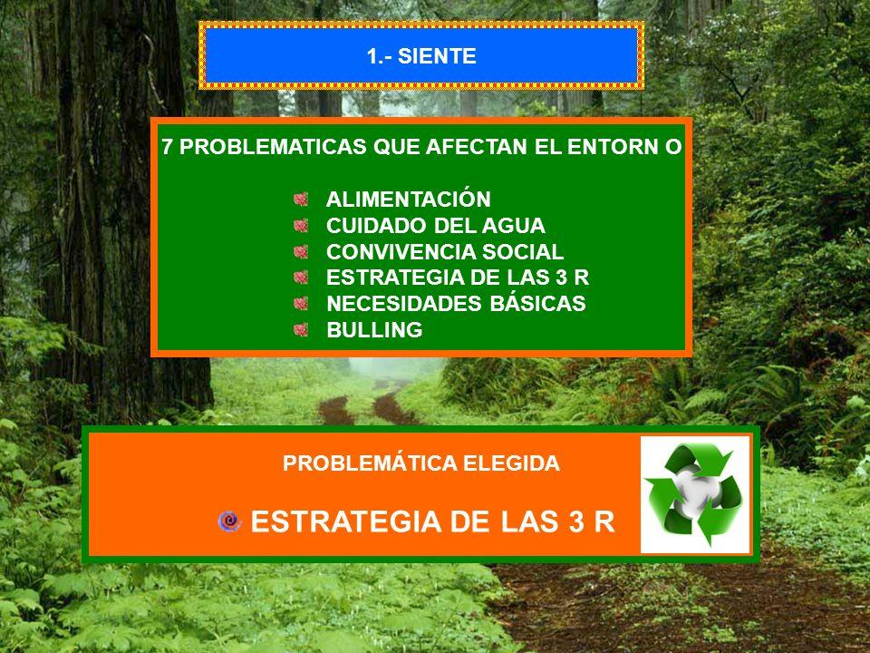 1.- SIENTE 7 PROBLEMATICAS QUE AFECTAN EL ENTORN O ALIMENTACIÓN CUIDADO DEL AGUA CONVIVENCIA SOCIAL ESTRATEGIA DE LAS 3 R NECESIDADES BÁSICAS BULLING
