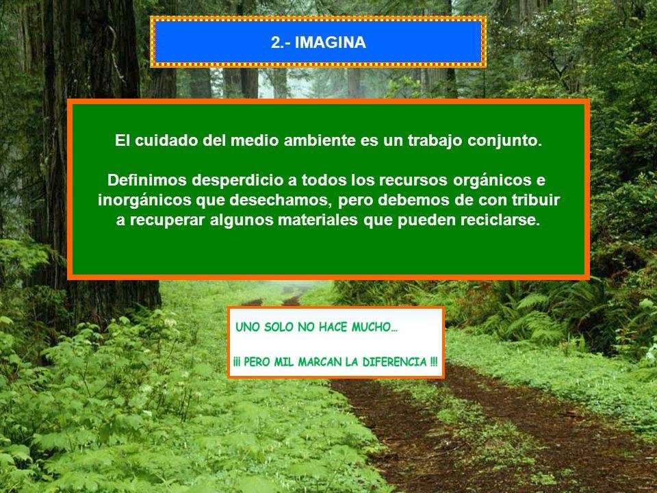 2.- IMAGINA El cuidado del medio ambiente es un trabajo conjunto. Definimos desperdicio a todos los recursos orgánicos e inorgánicos que desechamos, p