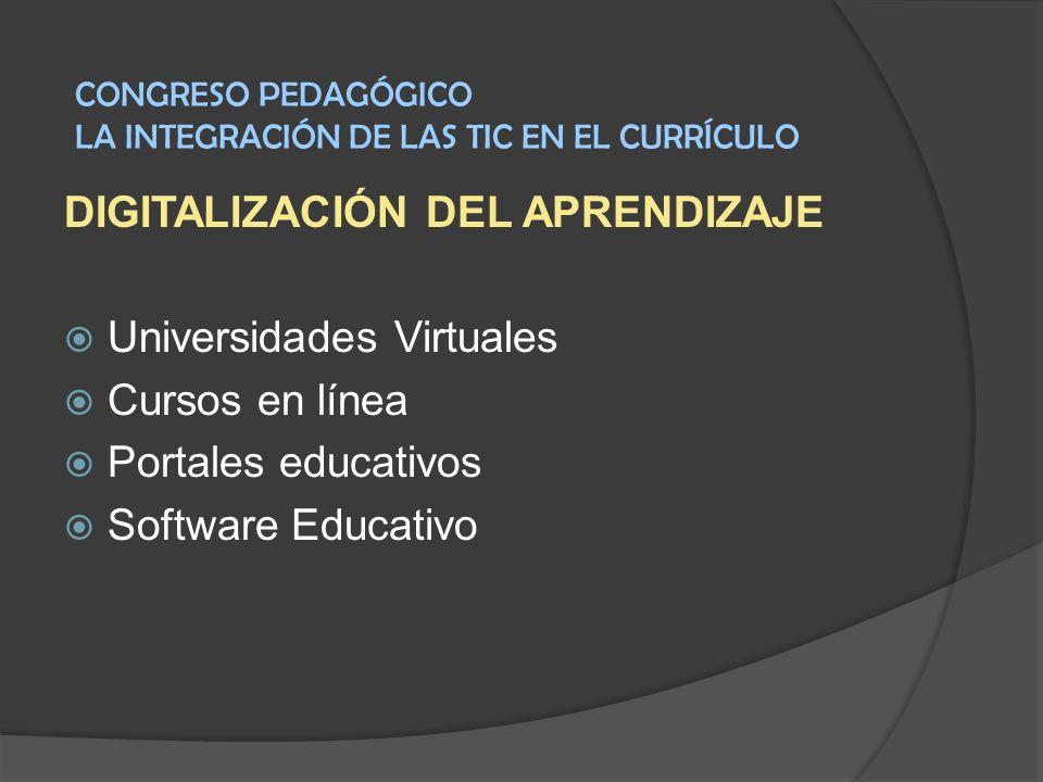 DIGITALIZACIÓN DEL APRENDIZAJE Universidades Virtuales Cursos en línea Portales educativos Software Educativo CONGRESO PEDAGÓGICO LA INTEGRACIÓN DE LA