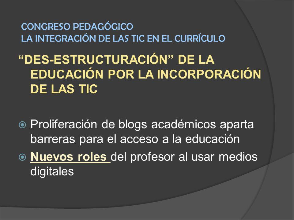 DES-ESTRUCTURACIÓN DE LA EDUCACIÓN POR LA INCORPORACIÓN DE LAS TIC Proliferación de blogs académicos aparta barreras para el acceso a la educación Nue