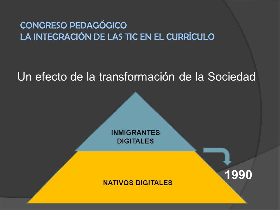 Un efecto de la transformación de la Sociedad NATIVOS DIGITALES INMIGRANTES DIGITALES CONGRESO PEDAGÓGICO LA INTEGRACIÓN DE LAS TIC EN EL CURRÍCULO 19
