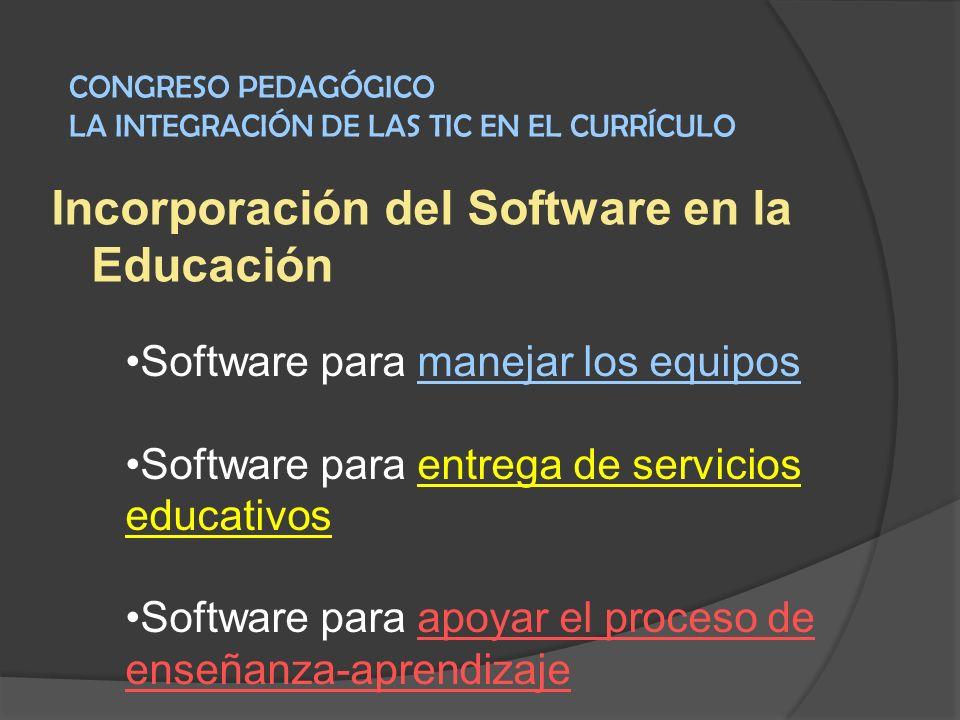Incorporación del Software en la Educación Software para manejar los equipos Software para entrega de servicios educativos Software para apoyar el pro