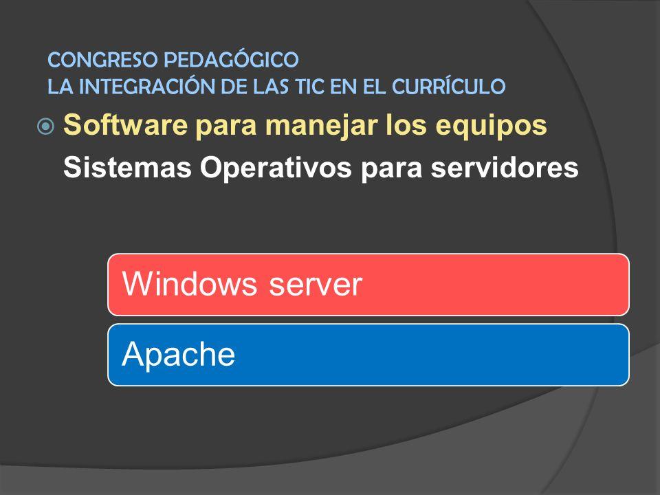 Software para manejar los equipos Sistemas Operativos para servidores Windows serverApache CONGRESO PEDAGÓGICO LA INTEGRACIÓN DE LAS TIC EN EL CURRÍCU
