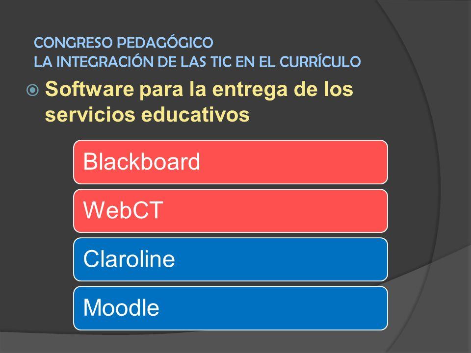 Software para la entrega de los servicios educativos BlackboardWebCTClarolineMoodle CONGRESO PEDAGÓGICO LA INTEGRACIÓN DE LAS TIC EN EL CURRÍCULO
