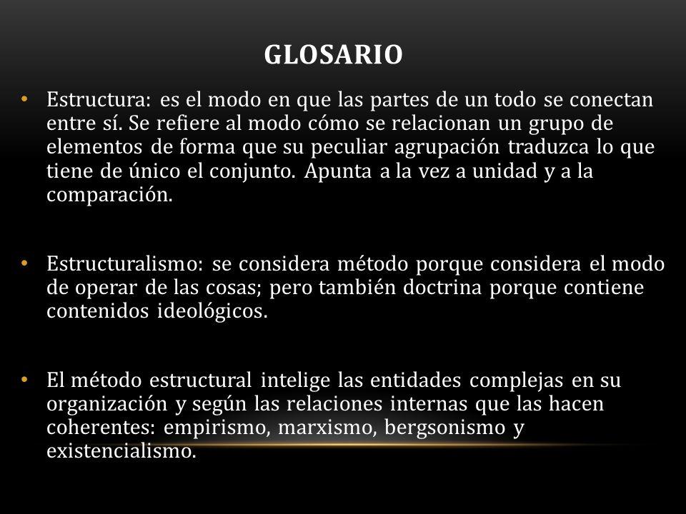 GLOSARIO Estructura: es el modo en que las partes de un todo se conectan entre sí.