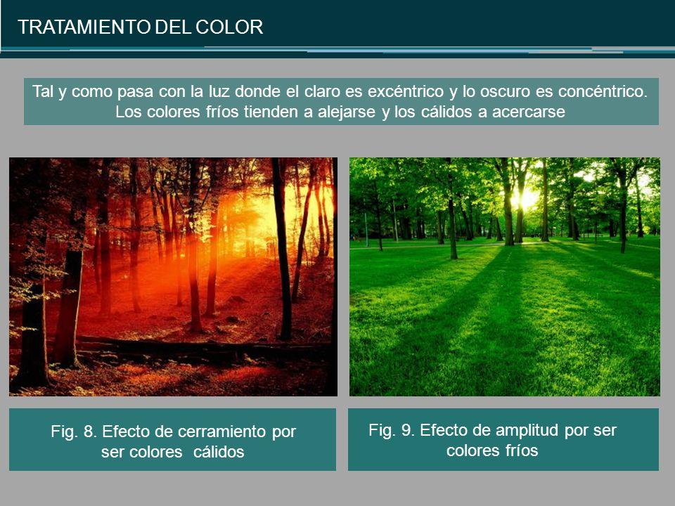 TRATAMIENTO DEL COLOR Fig.8. Efecto de cerramiento por ser colores cálidos Fig.