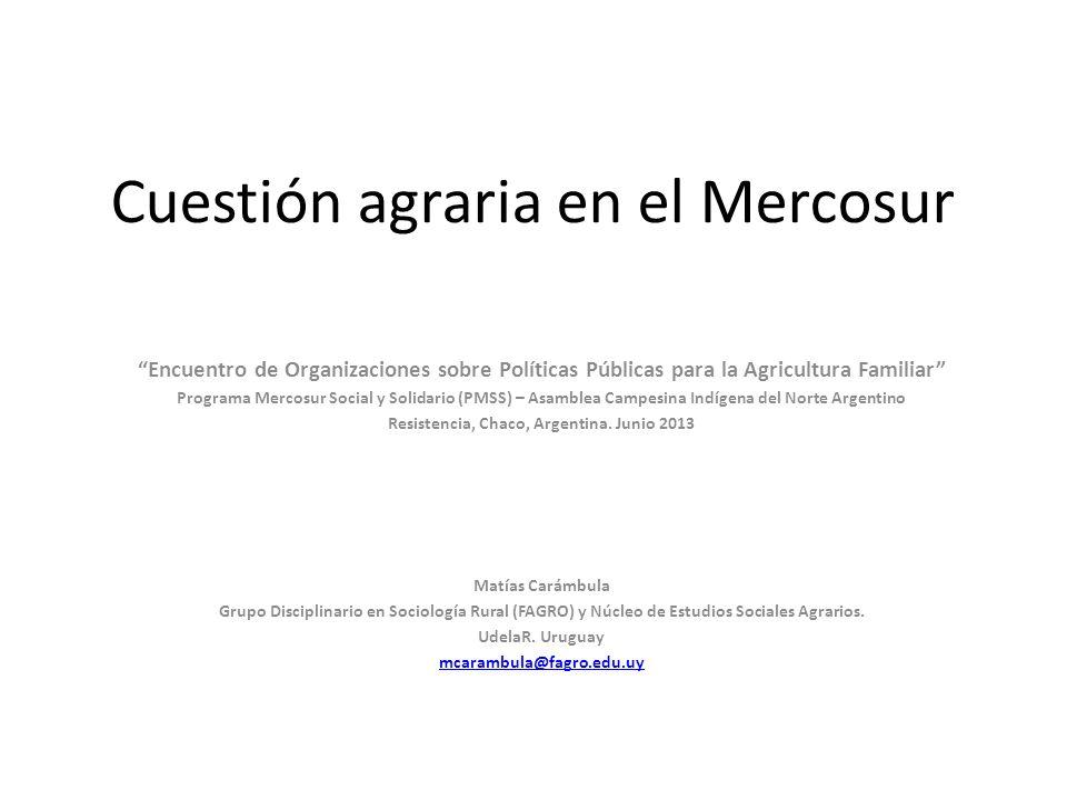 Cuestión agraria en el Mercosur Encuentro de Organizaciones sobre Políticas Públicas para la Agricultura Familiar Programa Mercosur Social y Solidario