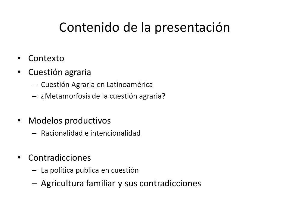 Contenido de la presentación Contexto Cuestión agraria – Cuestión Agraria en Latinoamérica – ¿Metamorfosis de la cuestión agraria.