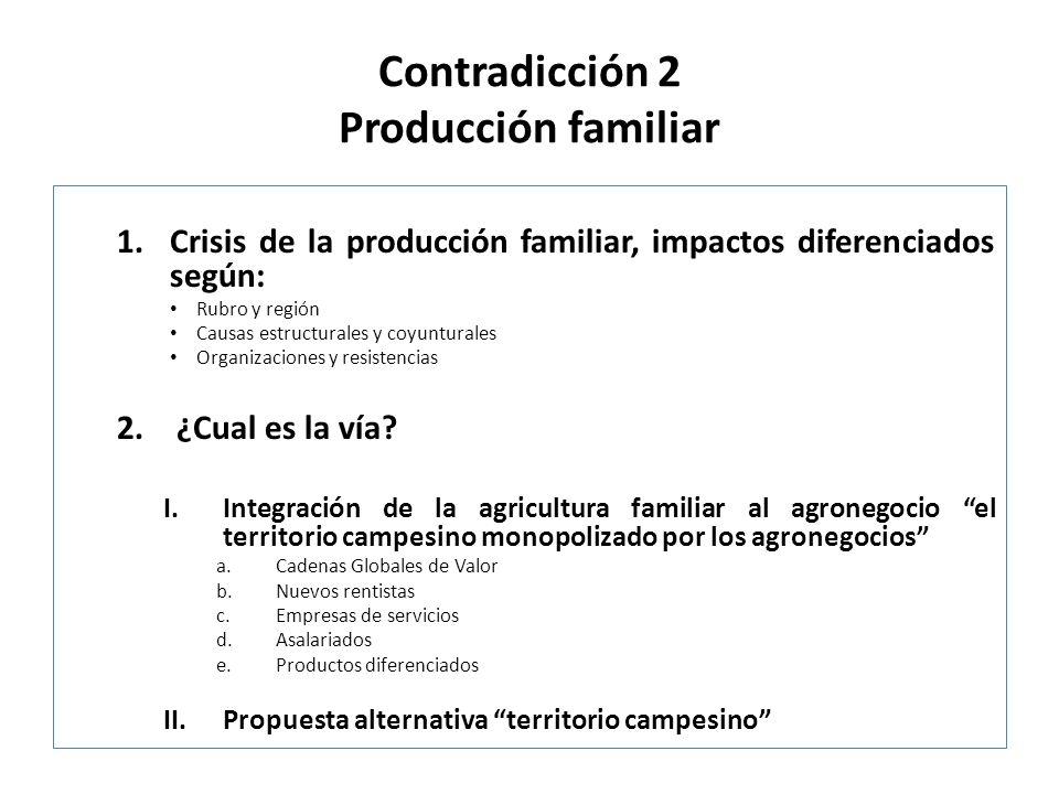 Contradicción 2 Producción familiar 1.Crisis de la producción familiar, impactos diferenciados según: Rubro y región Causas estructurales y coyunturales Organizaciones y resistencias 2.¿Cual es la vía.