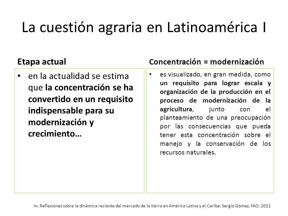 La cuestión agraria en Latinoamérica I Etapa actual en la actualidad se estima que la concentración se ha convertido en un requisito indispensable par