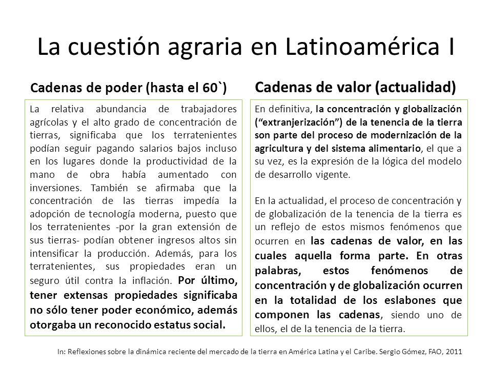 La cuestión agraria en Latinoamérica I Cadenas de poder (hasta el 60`) La relativa abundancia de trabajadores agrícolas y el alto grado de concentraci