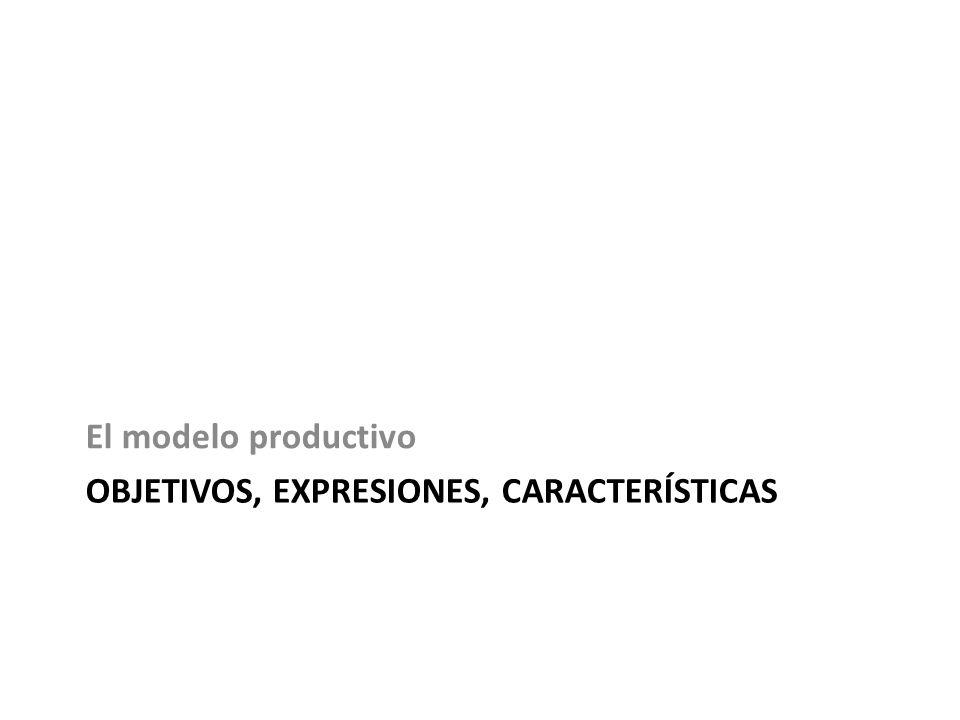 OBJETIVOS, EXPRESIONES, CARACTERÍSTICAS El modelo productivo