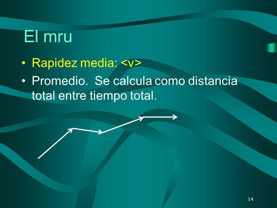 El mru 14 Rapidez media: Promedio. Se calcula como distancia total entre tiempo total.