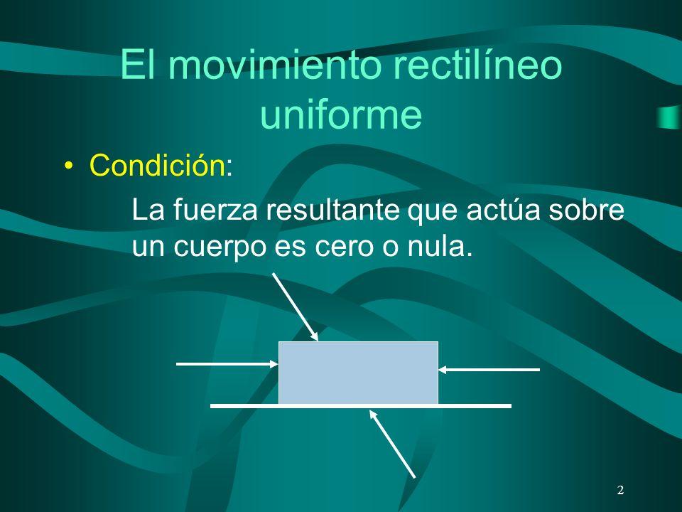 El movimiento rectilíneo uniforme Condición: La fuerza resultante que actúa sobre un cuerpo es cero o nula.