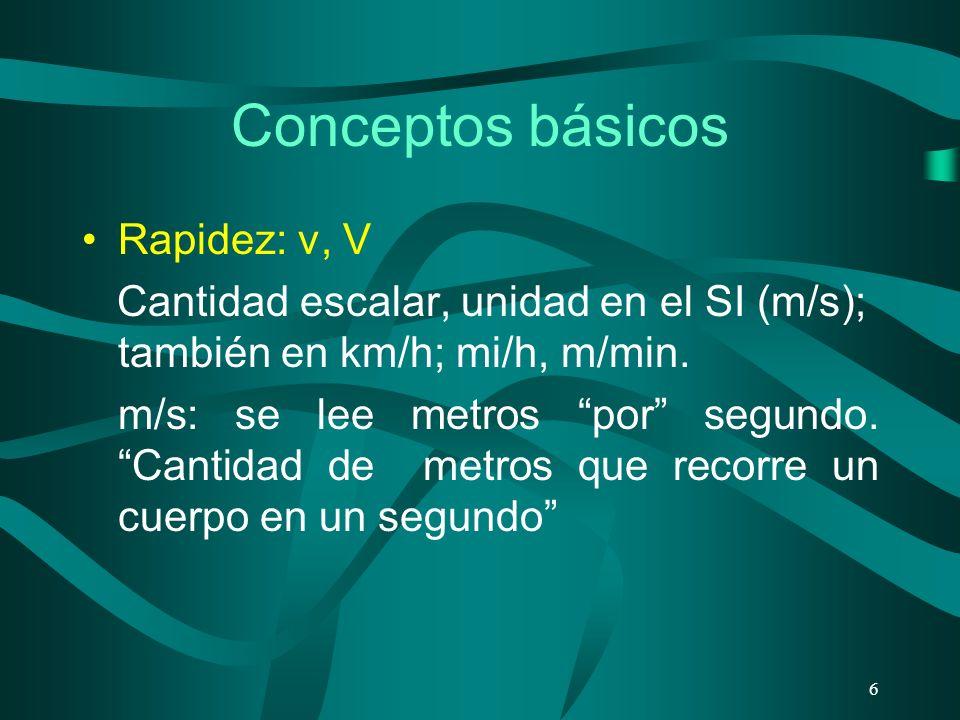 Conceptos básicos Rapidez: v, V Cantidad escalar, unidad en el SI (m/s); también en km/h; mi/h, m/min. m/s: se lee metros por segundo. Cantidad de met