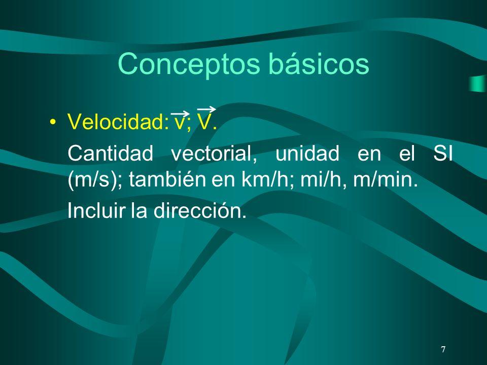Conceptos básicos Velocidad: v; V. Cantidad vectorial, unidad en el SI (m/s); también en km/h; mi/h, m/min. Incluir la dirección. 7