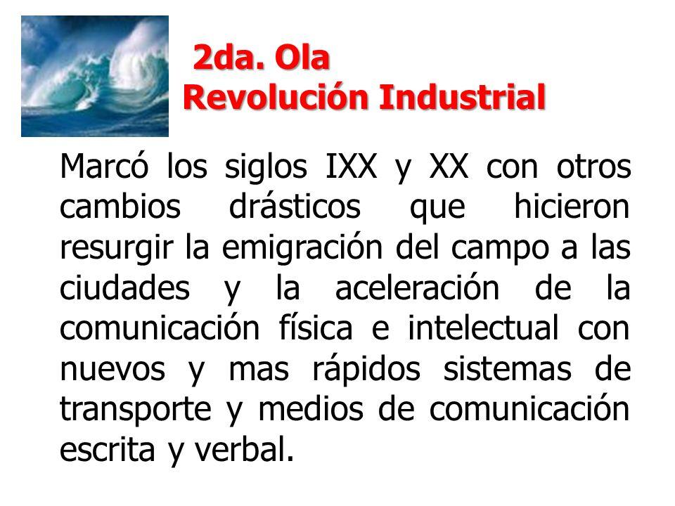 Marcó los siglos IXX y XX con otros cambios drásticos que hicieron resurgir la emigración del campo a las ciudades y la aceleración de la comunicación física e intelectual con nuevos y mas rápidos sistemas de transporte y medios de comunicación escrita y verbal.