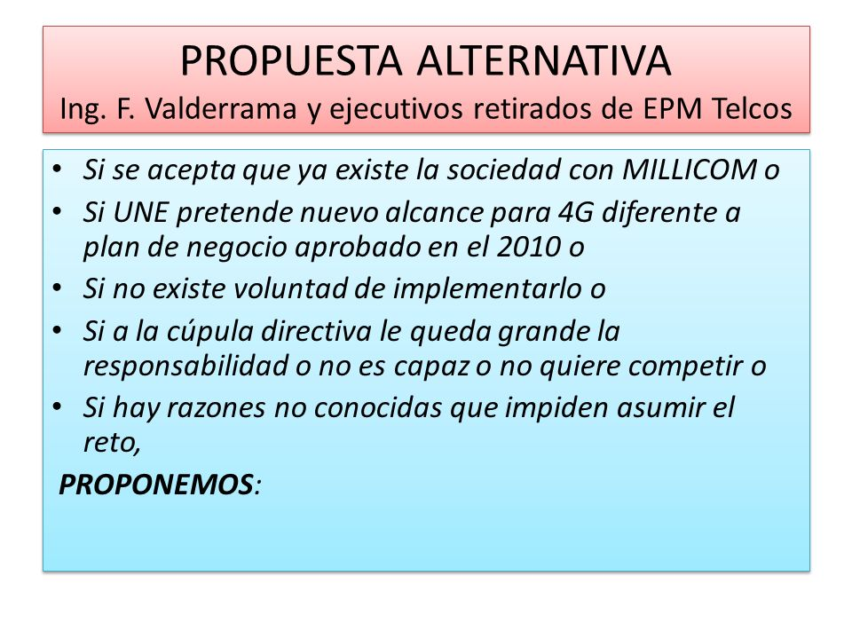 PROPUESTA ALTERNATIVA Ing. F.