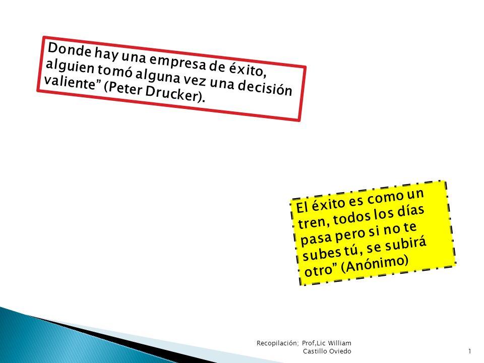 Recopilación; Prof,Lic William Castillo Oviedo1 El éxito es como un tren, todos los días pasa pero si no te subes tú, se subirá otro (Anónimo) Donde h