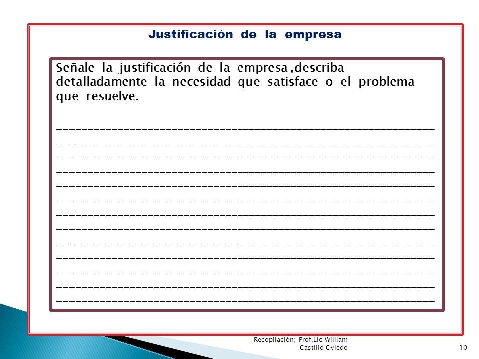 Justificación de la empresa Señale la justificación de la empresa,describa detalladamente la necesidad que satisface o el problema que resuelve. _____